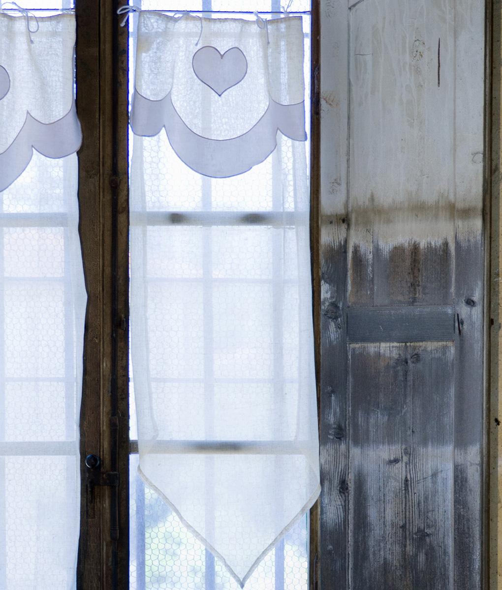 Tenda finestra con mantovana e bordo a punta 60x120 cm - Tenda bagno finestra ...