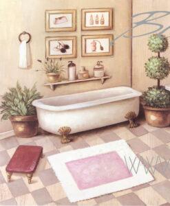 Quadro bagno con vasca cm 50x50x3
