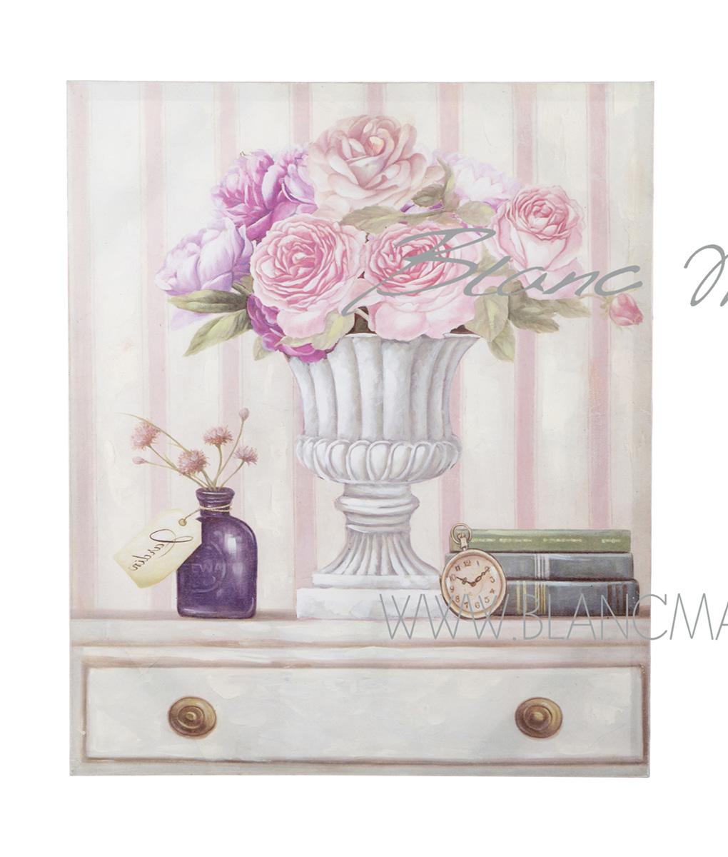 Quadro vaso con rose cm 50x60x3 blanc mariclo 39 reggio emilia for Quadro shabby