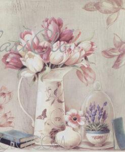 Quadro vaso con tulipani cm 50x50x3