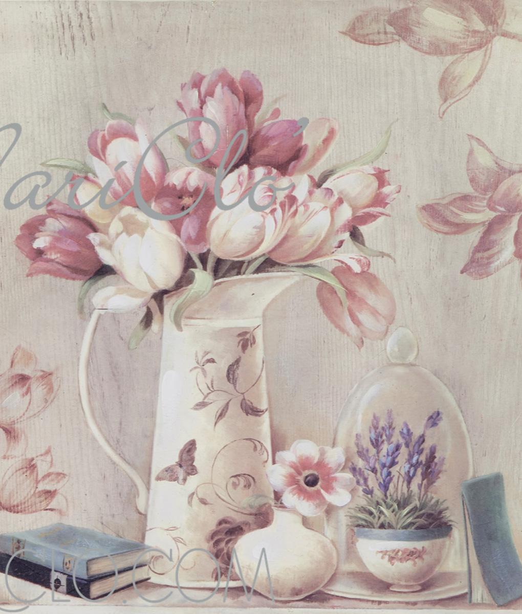 Quadro vaso con tulipani cm 50x50x3 - Blanc MariClo\' Reggio Emilia