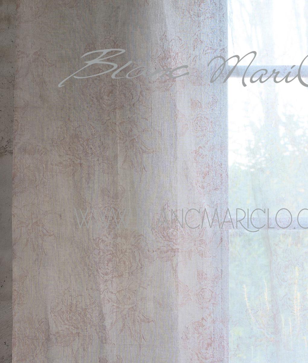 Tenda 140 x 300 cm Botanical rosa cipria - Blanc MariClo\' Reggio Emilia