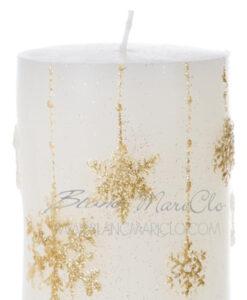 Candela stelle e fiocchi di neve dorati 10,5 cm A Lume di Candela Collection