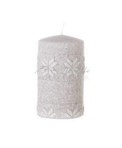 Candela tortora fiocchi di neve bianchi 12,5 cm A Lume di Candela Collection