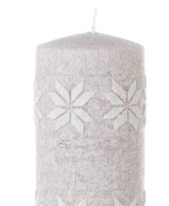Candela tortora fiocchi di neve bianchi 15,5 cm A Lume di Candela Collection