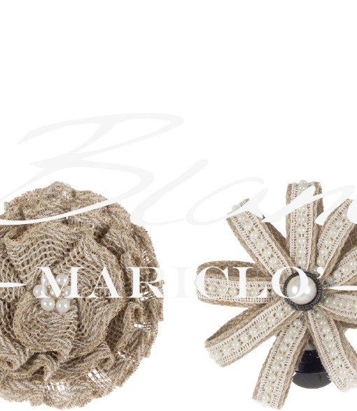 fermatenda fiore iuta  e perline blanc mariclo A26360