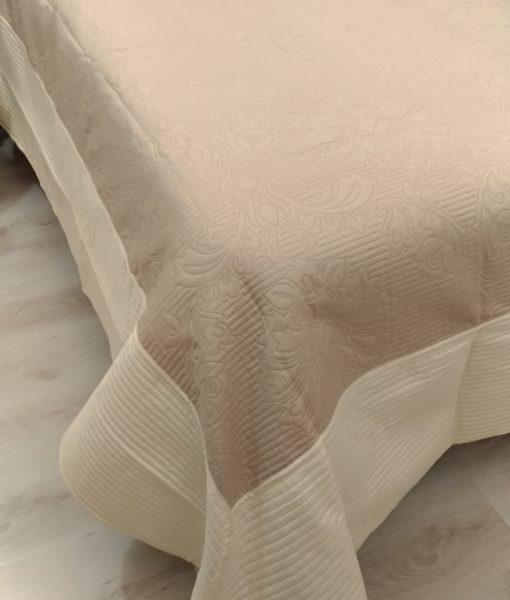 Boutis beige bicolor Blanc Mariclo