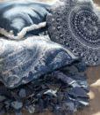 Cuscino Blanc Mariclo stampa jacobean Denim in Marrakech 45×45
