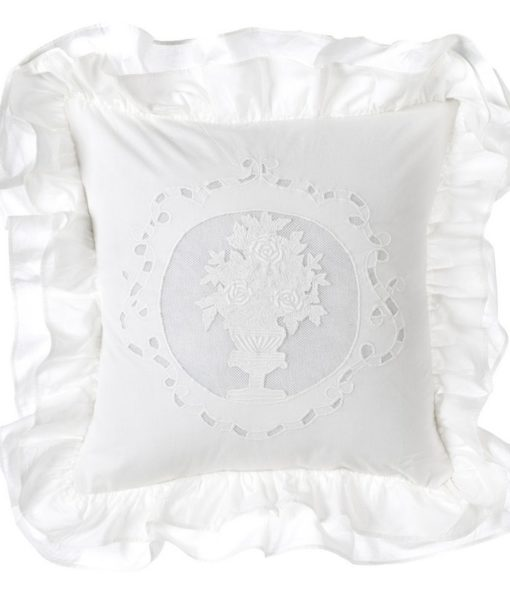 Cuscino Blanc Mariclo con gale White Cloud Collection 40×40 cm A26900