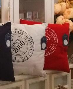 Cuscino quadrato rosso 45x45 cm Saint Barth Collection Blanc Mariclò