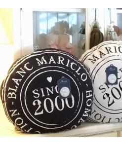 Cuscino tondo blu scuro 50 cm Saint Barth Collection Blanc Mariclò