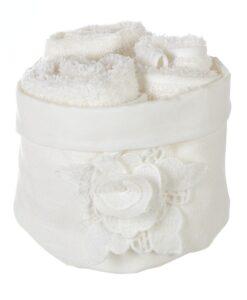 Cestino con 3 lavette Blanc Mariclo Roselline Macramè