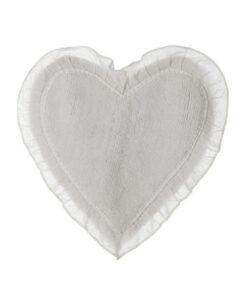 Tappeto cuore con frills Blanc Mariclò