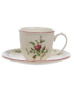 Set 2 Tazzine caffè con piattino Moss Rose Collection Blanc Mariclo