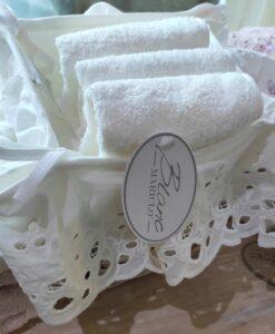 Cestino con 3 lavette Blanc Mariclo Cipria Collection Panna