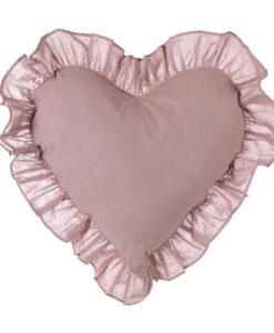 Cuscino a cuore con gala Blanc Mariclò Infinity 60x60 cm Rosa polvere