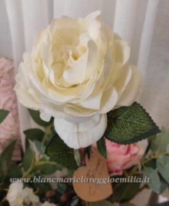 Rosa artificiale Blanc Mariclo colore Bianco