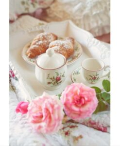 Set 2 Tazzine caffè con piattino Moss Rose Collection Blanc Mariclo
