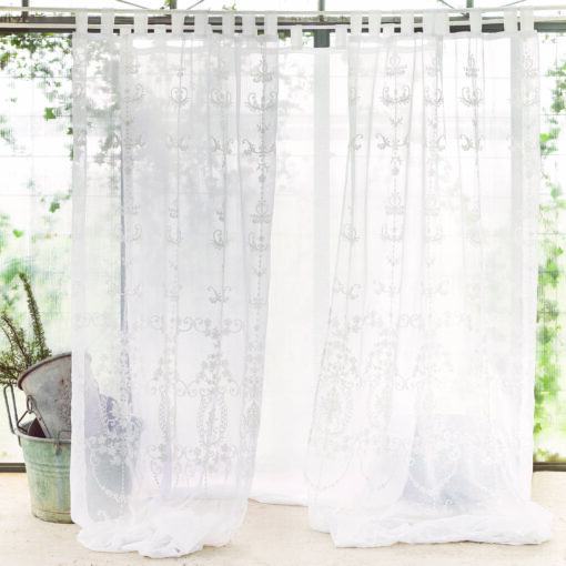 Tenda ricamata Blanc Mariclo Vanity Collection 140x290 cm