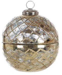 Contenitore con coperchio in vetro Blanc Mariclo Giudecca Collection Dorato H 13 cm