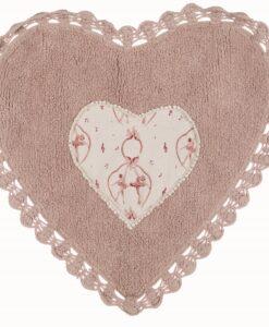 Tappeto Blanc Mariclò cuore con crochet Rosa Ballade Collection