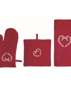 Set guanto-presina-canovaccio Blanc Mariclo Cuore Collection Rosso