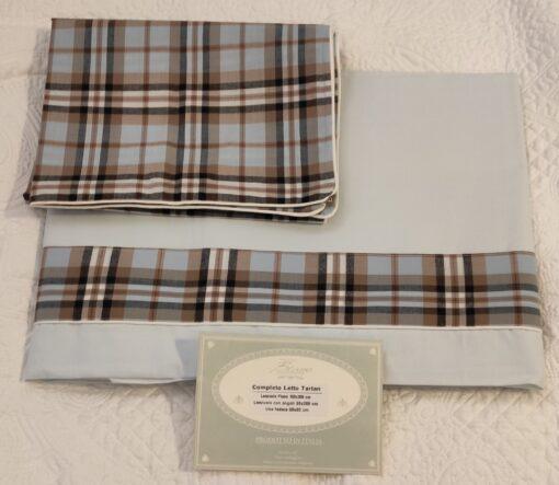 Completo letto 1 piazza Blanc Mariclo Tartan Collection Celeste