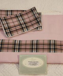 Completo letto 1 piazza Blanc Mariclo Tartan Collection Rosa