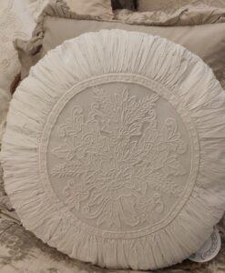Cuscino tondo ricamato Blanc Mariclo Collection 45x45 cm