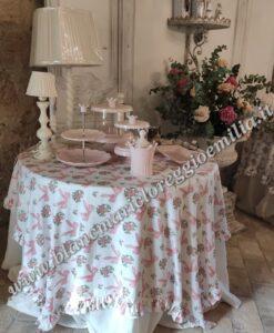 Copritavolo fiocchi rosa con gale Blanc Mariclo Romanzo