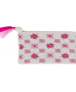 Pochette ricamata Blanc Mariclo Fiori Rosa
