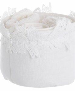 Cestino con 3 lavette Blanc Mariclo Applauso Collection Panna