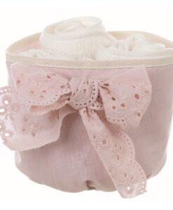 Cestino con 3 lavette Blanc Mariclo Gli innamorati Collection Rosa