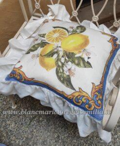 Copricuscino sedia con gala Blanc Mariclo La Costiera Collection