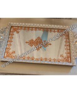 Vassoio con specchio Blanc Mariclò Cavaliere della rosa Collection L 41,8 cm