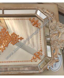 Vassoio con specchio Blanc Mariclò Cavaliere della rosa Collection L 47,5 cm