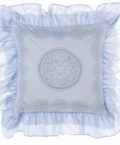Cuscino ricamato con gale Blanc Mariclo Collection 45x45 cm Celeste