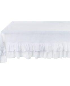 Tovaglia misto lino con doppia gala Blanc Mariclo Frill Collection Bianco latte