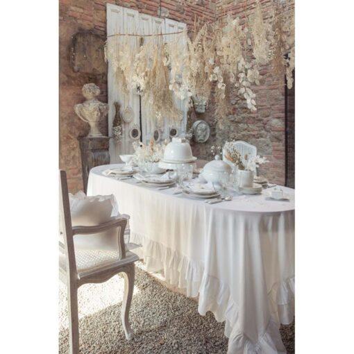 Tovaglia misto lino con doppia gala Blanc Mariclo Frill Collection
