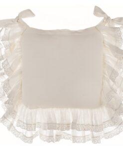 Copricuscino sedia misto lino con gale Blanc Mariclo Tiepolo Collection Avorio 40x40 cm