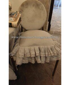 Cuscino misto lino con gale Blanc Mariclo Tiepolo Collection Beige