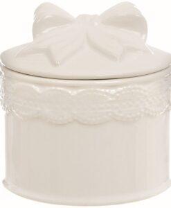 Cofanetto tondo con coperchio Fiocco Blanc Mariclo Sentimento Collection