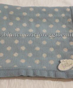 Coperta Baby Blanc Mariclo Dottie Frill 70x100 cm Celeste