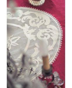 Tovaglia con bordo in pizzo Blanc Mariclo Velvet e Lace Collection