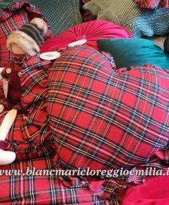 Cuscino Tartan Blanc Mariclo a cuore con frill Vischio Collection 42x44 cm
