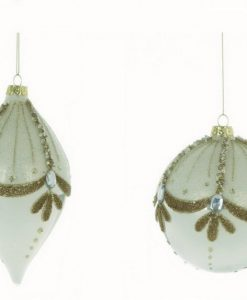 Set 2 Decoro assortito in vetro Blanc Mariclo Dorotea Collection H 10 cm Argento